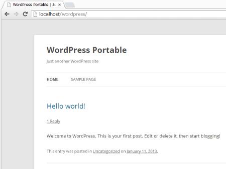 「 http://localhost/wordpress/ 」にアクセスするとWordPressのデフォルトテーマが表示